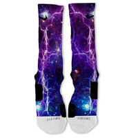 Fast Shipping!! Nike Elite Socks Customized Purple Galaxy Lightning Spaceman