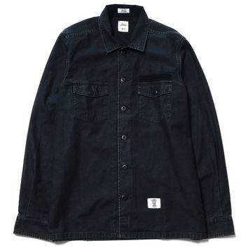 """Cliff"" L/S Military Shirt Black"