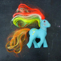 Vintage My Little Pony Blue Brush N Grow Horse Doll Small Shelf Display  Symbol Rainbow Hair 1987 Hasbro Toy