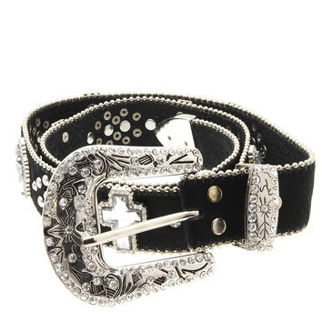 Faux Leather Fur Cross Belt