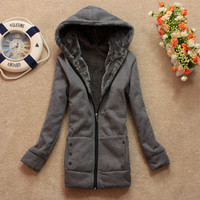 4 Color Women Hooded Fleece Sweat Hoodie Sweatshirt