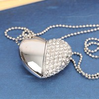 Lovely Heart Usb Flash Drive 128GB 64GB Necklace Chain Pendrive 512GB 32GB 16GB Pendrive 3.0 Gadget Computer Gift USB Stick