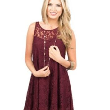 Others Follow Wine Lace Deer Lucy Sleeveless Dress