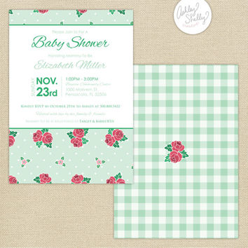 Shabby Chic Roses Baby Shower Invitation : Mint/Green/Pink