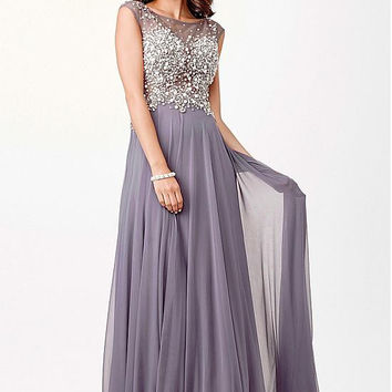 Grey Chiffon Long A-line Prom Dresses 2017 Sheer Neck Pearls Sexy Evening Party Dresses A-line Floor Length See Through Back