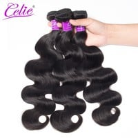 Celie Brazilian Body Wave Hair Weave Bundles 10-28 Inch Remy Hair Extension Natural Color Can be Dyed 100% Human Hair Bundles