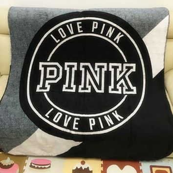 "Victoria Secret VS ""Pink"" Print Stylish Home Comfortable Soft Fleece Warm Travel Blanket Sofa Cover Nap Blanket Grey I"