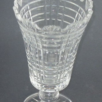 Signed Waterford Hand Cut glass footed vase Irish Crystal