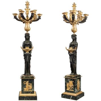 Pair of Very Large Patinated and Gilt-Bronze Candelabra Signed THOMIRE A PARIS