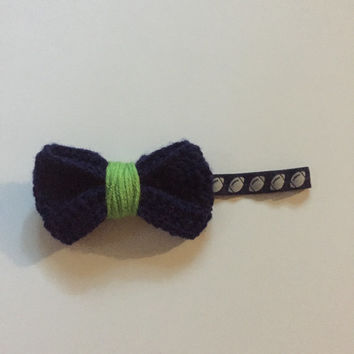 Crochet Bow Headband / Elastic Headband / Crochet Bow / Football Headband