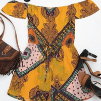 Short Sleeve Printed Tube Romper