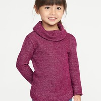 Cowl-Neck Metallic French Terry Tunic for Toddler Girls|old-navy