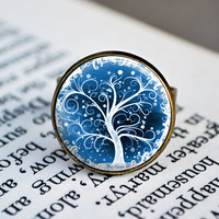 Antique Bronze Adjustable Ring - Tree Design 016