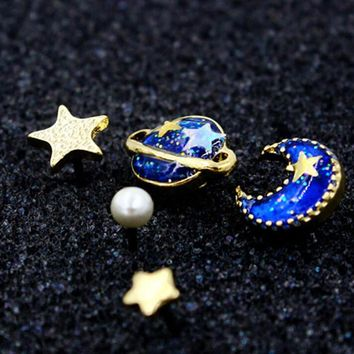 blue star moon and planet rhinestone earring  number 1