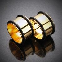 Gold Plated No Flare Regs Ear Gauge Tunnel Plug