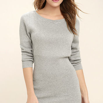 All-Time Favorite Heather Grey Bodycon Sweater Dress