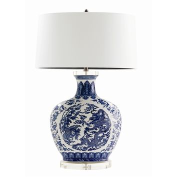 Dragon Blue and White Chinoiserie Lamp