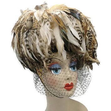 Whittall & Shon Pheasant Feather Veiled Pillbox Hat Haute Couture Runway Fabulous