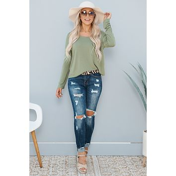 Love And Joy Long Sleeve Top (Olive)