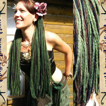 "2 x FAERY Fantasy DREAD FALLS ""Forest Witch"" dreads locs hair falls 224 dreads 23''/ 60 cm long Reenactment Larp Sca elf amazon magician wig"