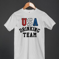 USA DRINKING TEAM T-SHIRT RED WHITE BLUE (ID6051947)