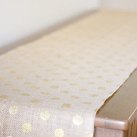 Gold polka dot burlap table runner - perfect for holiday season decorations - 108 inches long