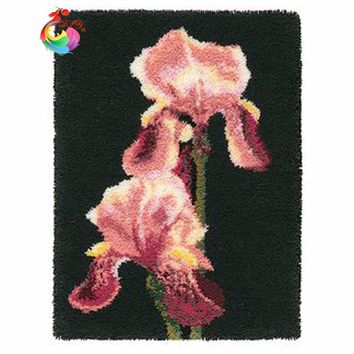 Flower Latch hook rug kits Patchwork carpet cross stitch thread embroidery kits Carpet embroidery yarn for crocheting cushion
