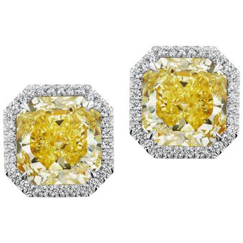 Scarselli Intense Yellow Radiant Cut Diamond Earrings in Platinum GIA Certified