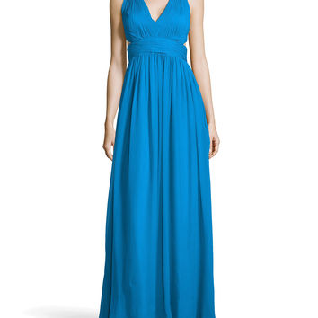 Women's Chiffon Halter Gown with Side Cutouts - Aidan Mattox - Electric