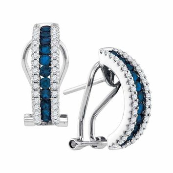 14kt White Gold Women's Round Blue Sapphire Vertical Diamond Stripe Hoop Earrings 1-2 Cttw - FREE Shipping (USA/CAN)