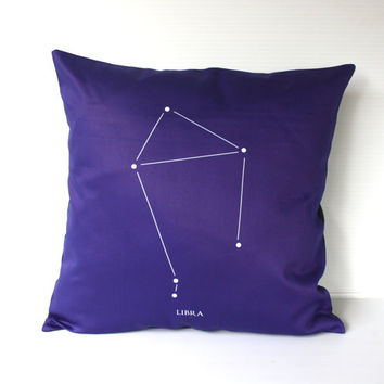 "LIBRA zodiac cushion, astrology decorative pillow eco friendly organic cotton cushion cover, pillow, 16"", 41cms"