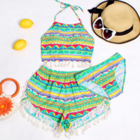 HOT GREEN BLUE TWO PIECE TOTEM COLORFUL THREE PIECES BIKINIS SWIMWEAR BATHSUIT