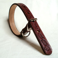 "Tooled leather dog collar, 3/4"" wide, in brown, tan or mahogany, floral design"