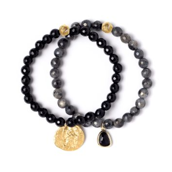 Tess and Tricia Lyra Black Stretch Bracelet Set