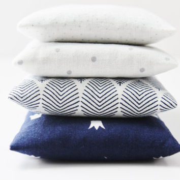 Set of 4 Modern Lavender Bags, White Grey & Navy Pillow Sachets