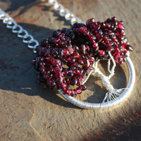 Sterling Silver Garnet Crimson King Maple Tree of Life for Love, Fidelity, Passion, Courage, Protection, Spiritual Healing, and Stability