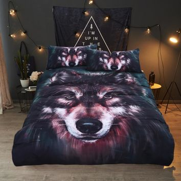 Bedding Outlet Wolf Bedding Set Painting 3D Vivid Duvet Cover With Pillowcases