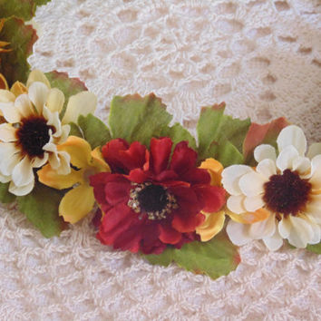Autumn Flowered Crown Red, Yellow, Green, Cream Fall Flowered Wreath