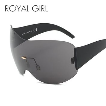 ROYAL GIRL New Design Oversized Rimless Sunglasses Women Men Large Acetate Frame Windproof Shades Eyewear ss660