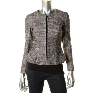 Theory Womens Jondi Textured Marled Collarless Blazer