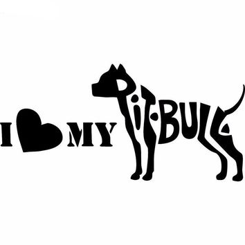 I love my Pit Bull Silhouette Car Decal Vinyl Sticker