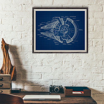 Millennium Falcon Poster, Star Wars Patent Printable, Star Wars vehicle Diagram, Starship Blueprint, Millennium Falcon Star wars Blueprint