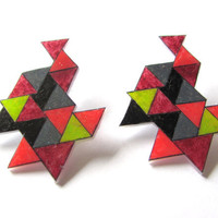 geometric shrink plastic earrings by LinesNShapesJewelry on Etsy