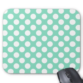 Mint White Polka Dots - Mousepad