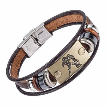 Drop Hot Selling Europe Fashion 12 zodiac signs Bracelet With Stainless Steel Clasp Leather Bracelet for Men XY17018