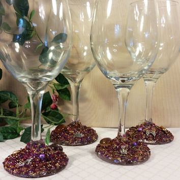Wine Divas Wine Glasses, Beaded Wine Glasses, Decorated Wine Glasses, Decorated Glasses, Embellished Glasses, Wedding Glasses, Wine Glasses