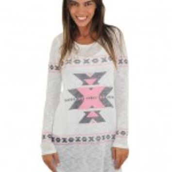 Pink And Black Printed Aztec Top