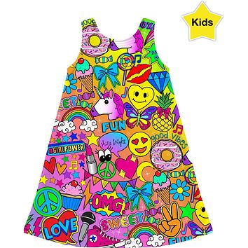 Glamour and Glitter: Colorful Pop Art Print Girl's Dress