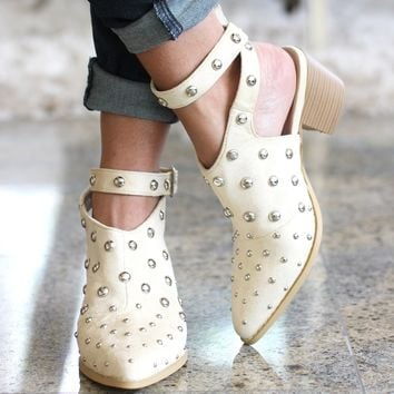 Stud Pointed Bootie with Buckle Strap