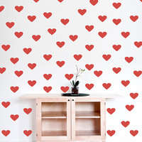 "Hearts Polka Dot Wall Decal, 2"" x 2"" Small Hearts Decal, Nursery Wall Decor, Hearts Stickers, Kids Room Decor, Hearts Room, 150pc set nm017"